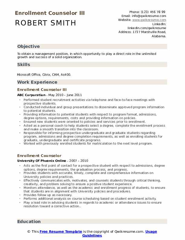Enrollment Counselor III Resume Format