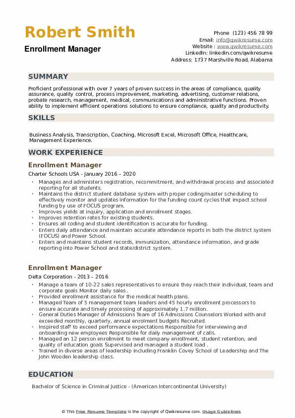 Enrollment Manager Resume example
