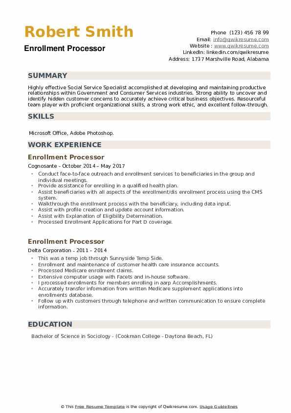 Enrollment Processor Resume example