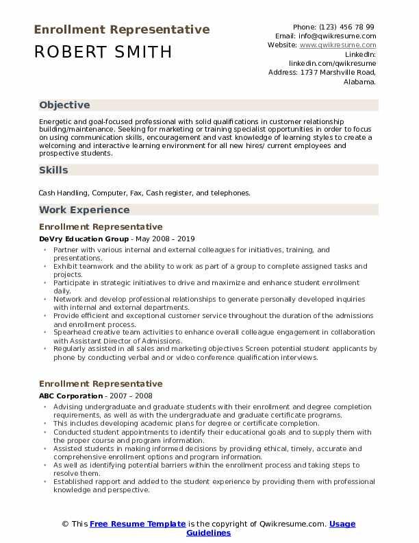 Enrollment Representative Resume Example