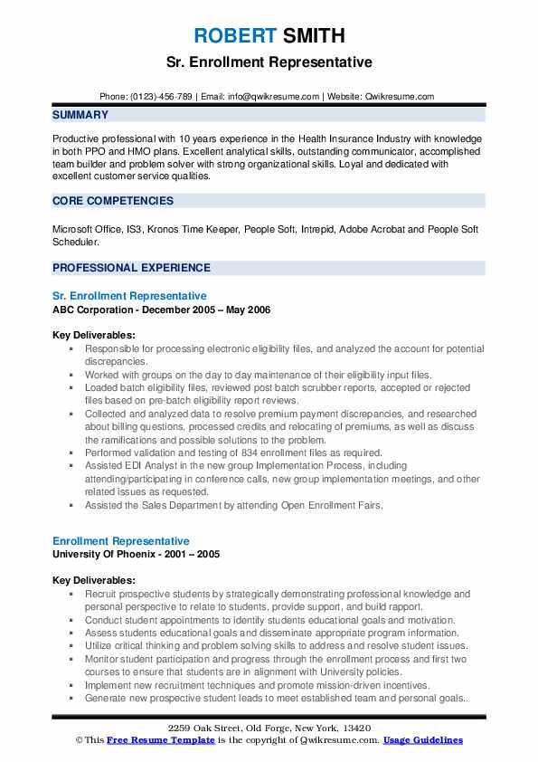Sr. Enrollment Representative Resume Sample