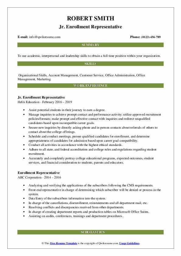 Jr. Enrollment Representative Resume Sample