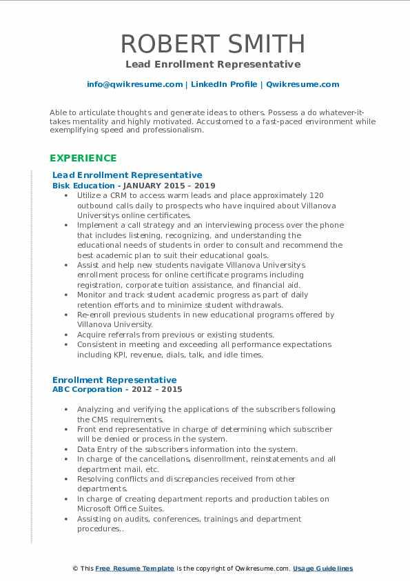 Lead Enrollment Representative Resume Example
