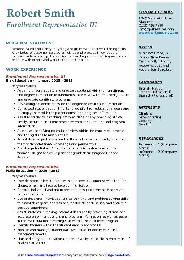 Enrollment Representative III Resume Template