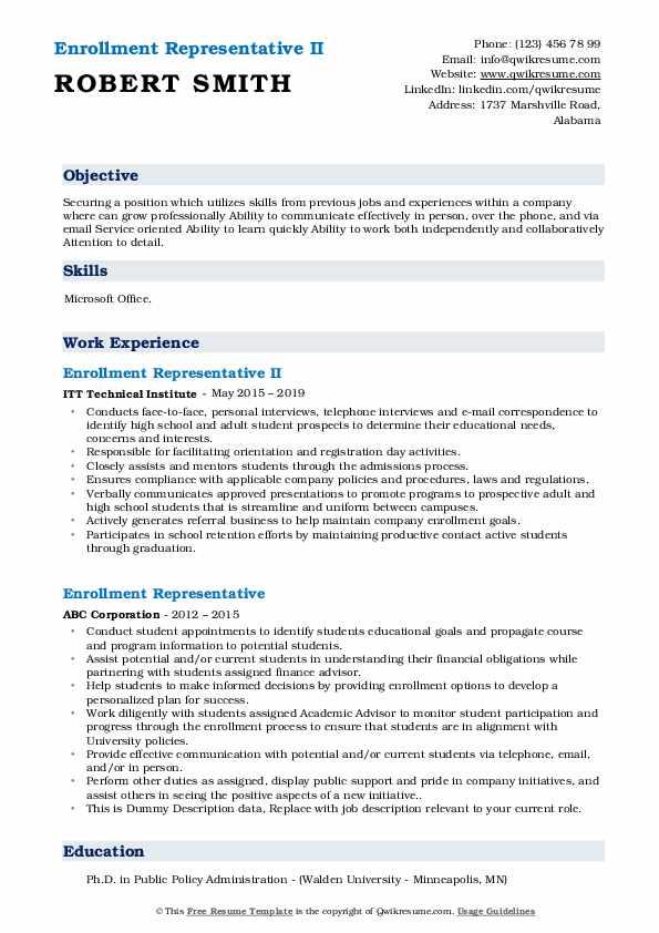 Enrollment Representative II Resume Model