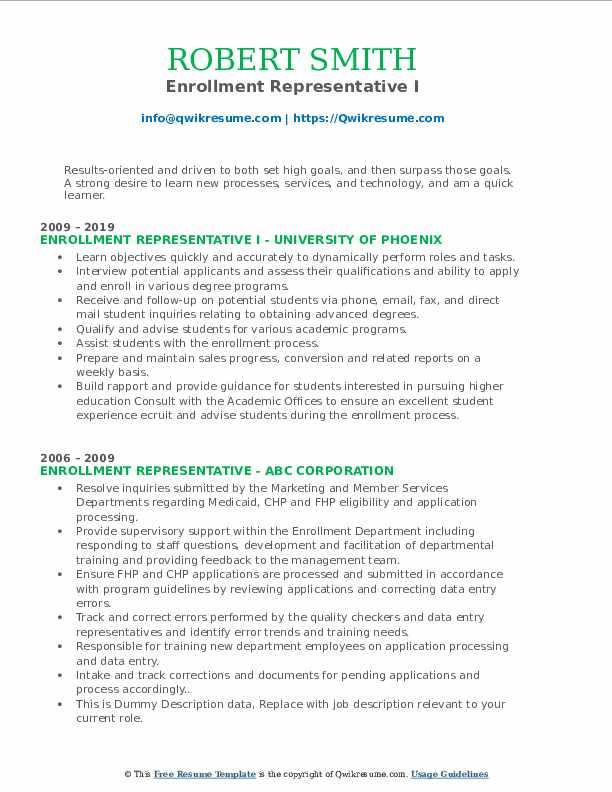 Enrollment Representative I Resume Format