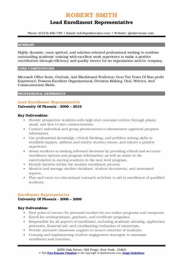 Lead Enrollment Representative Resume Format