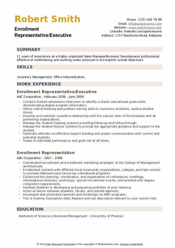 Enrollment Representative/Executive Resume Template