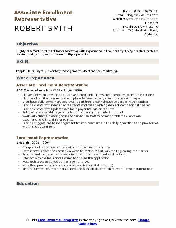 Associate Enrollment Representative Resume Sample