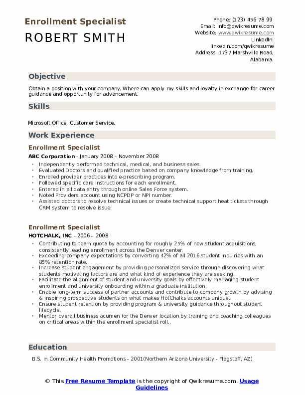 Enrollment Specialist Resume Sample