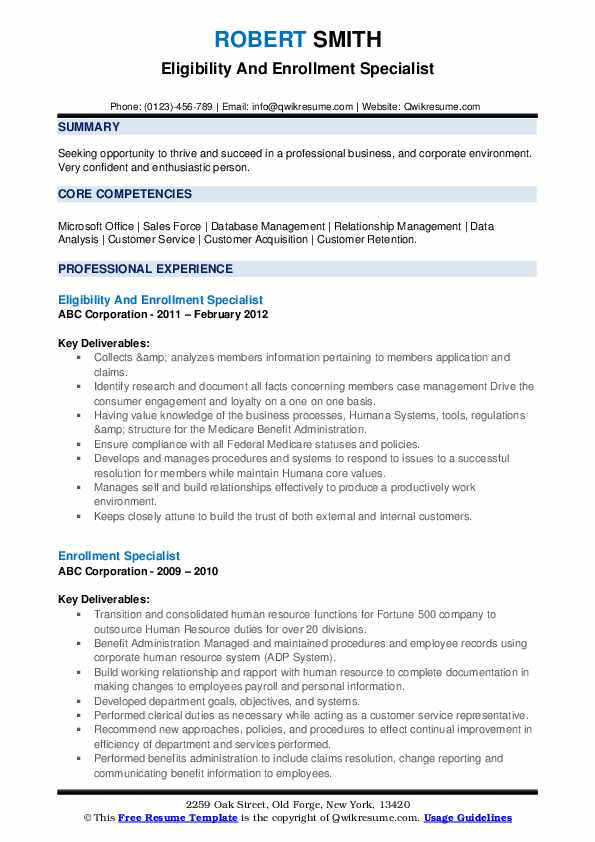 Eligibility And Enrollment Specialist Resume Model