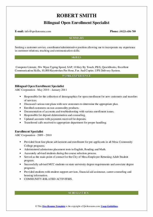Bilingual Open Enrollment Specialist Resume Sample