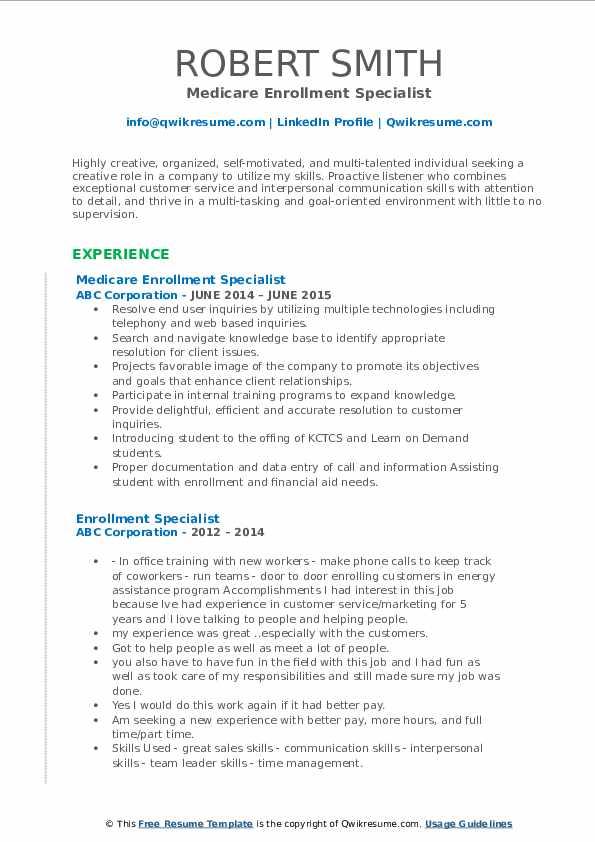 Medicare Enrollment Specialist Resume Sample