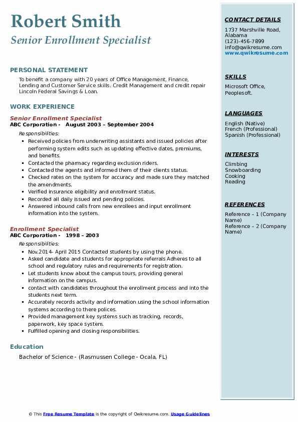 Senior Enrollment Specialist Resume Model