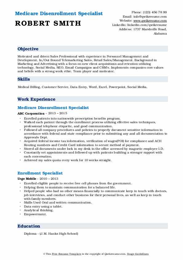 Medicare Disenrollment Specialist Resume Sample