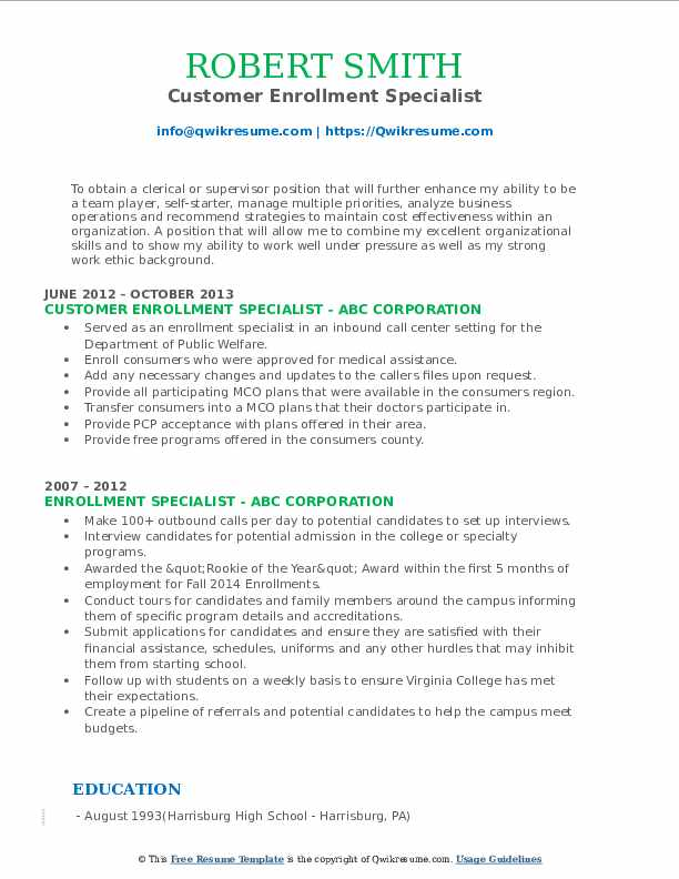 Customer Enrollment Specialist Resume Model