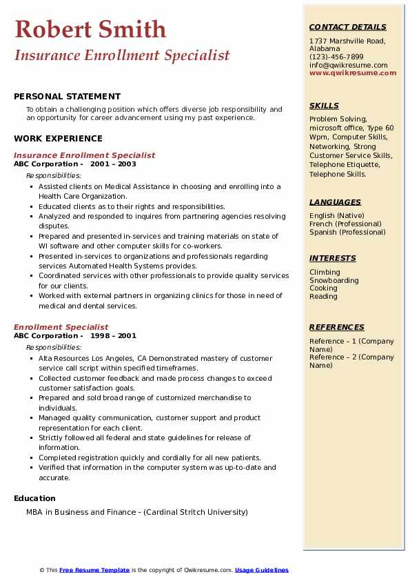 Insurance Enrollment Specialist Resume Example
