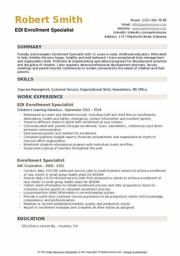 EDI Enrollment Specialist Resume Format