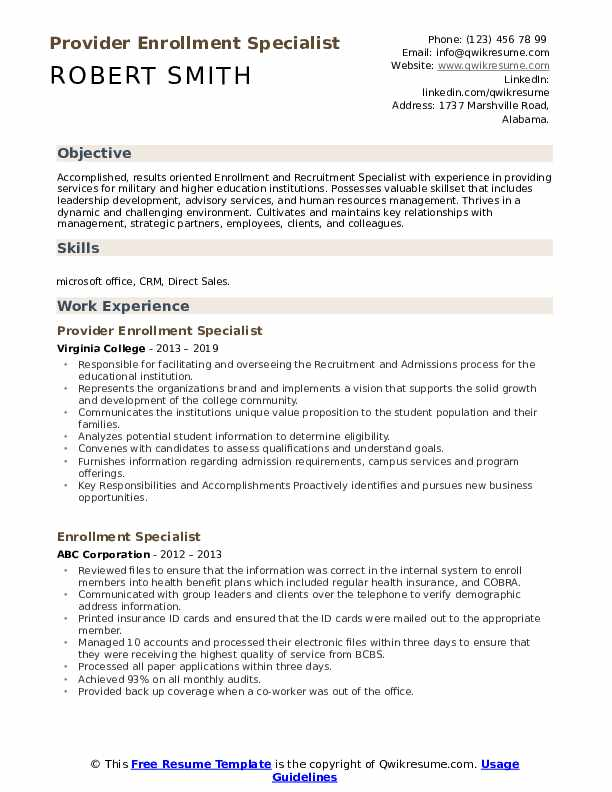 Provider Enrollment Specialist Resume Template
