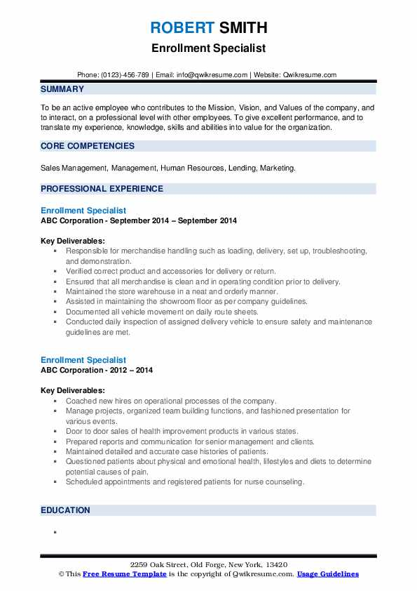 Enrollment Specialist Resume example