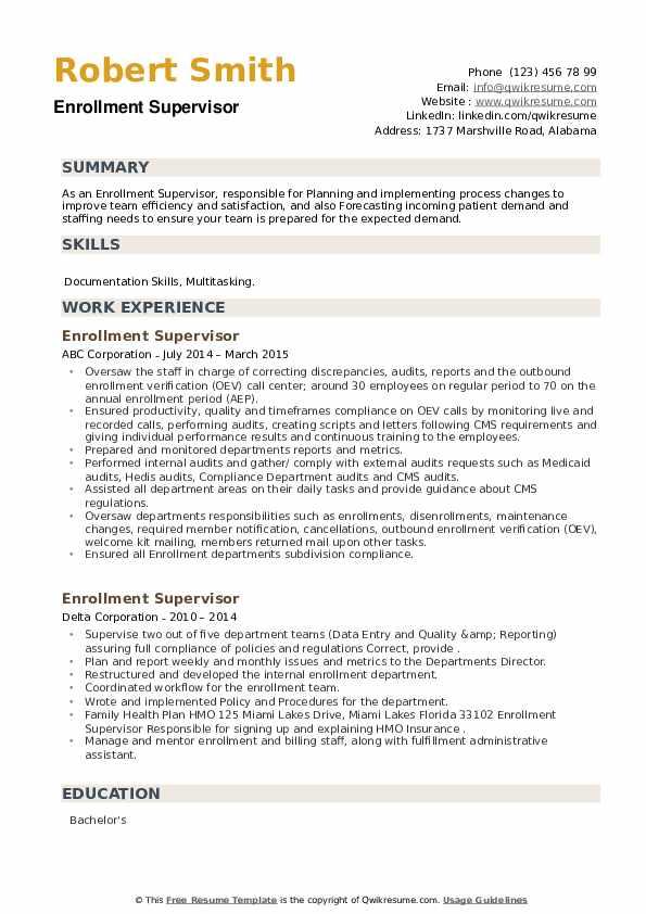Enrollment Supervisor Resume example