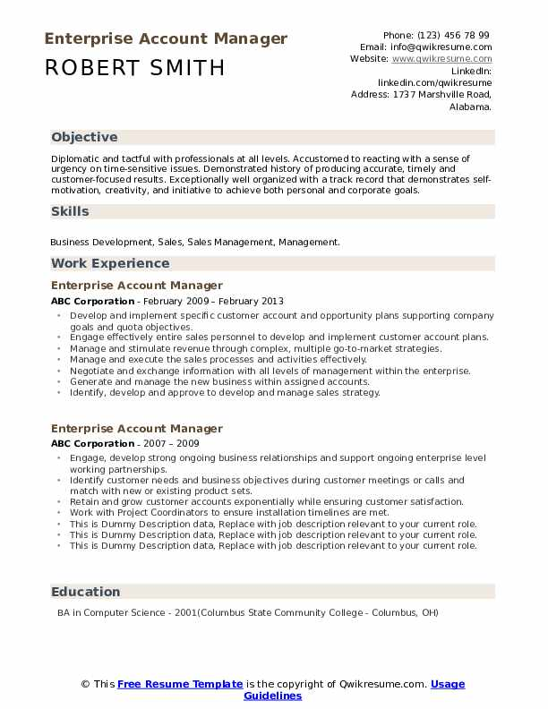 Enterprise Account Manager Resume example