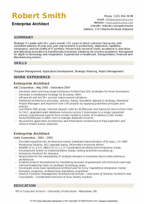 Enterprise Architect Resume example