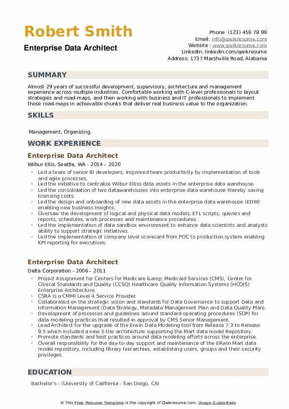 Enterprise Data Architect Resume example