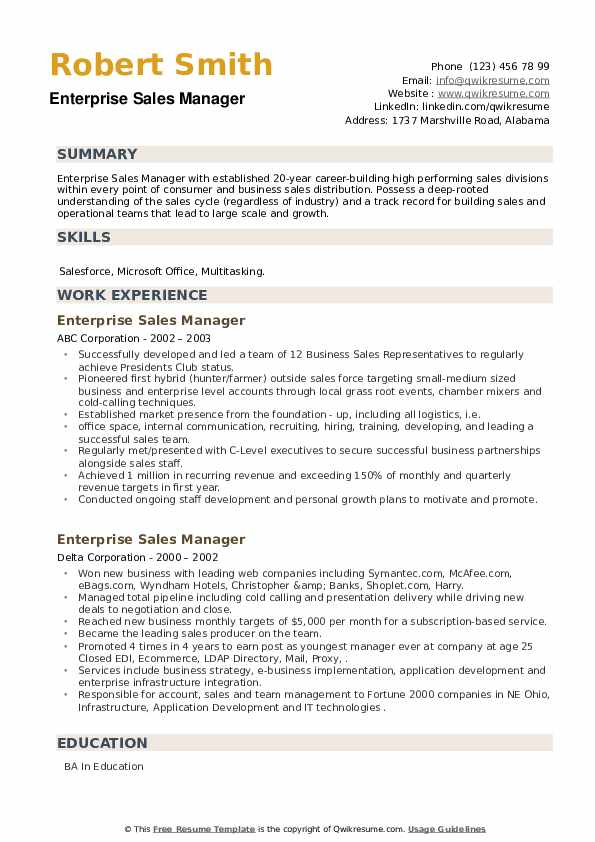 Enterprise Sales Manager Resume example