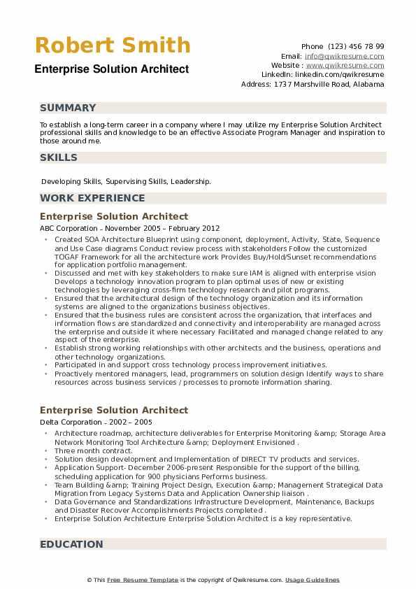 Enterprise Solution Architect Resume example