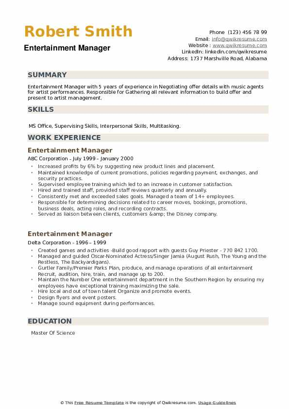 Entertainment Manager Resume example