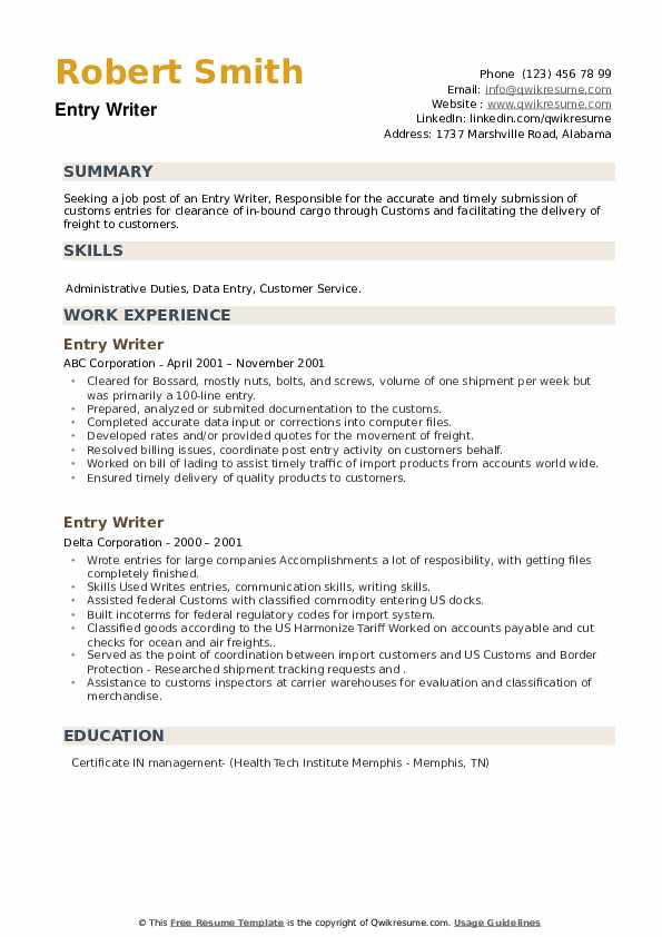 Entry Writer Resume example