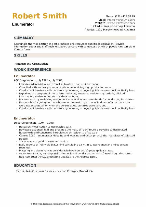 Enumerator Resume example