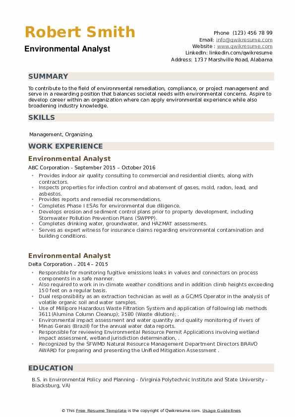 Environmental Analyst Resume example