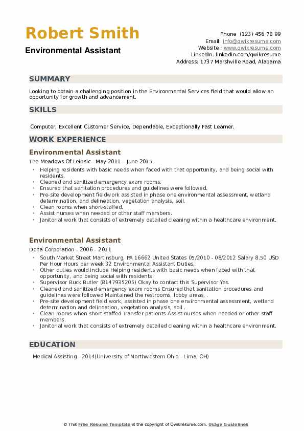 Environmental Assistant Resume example