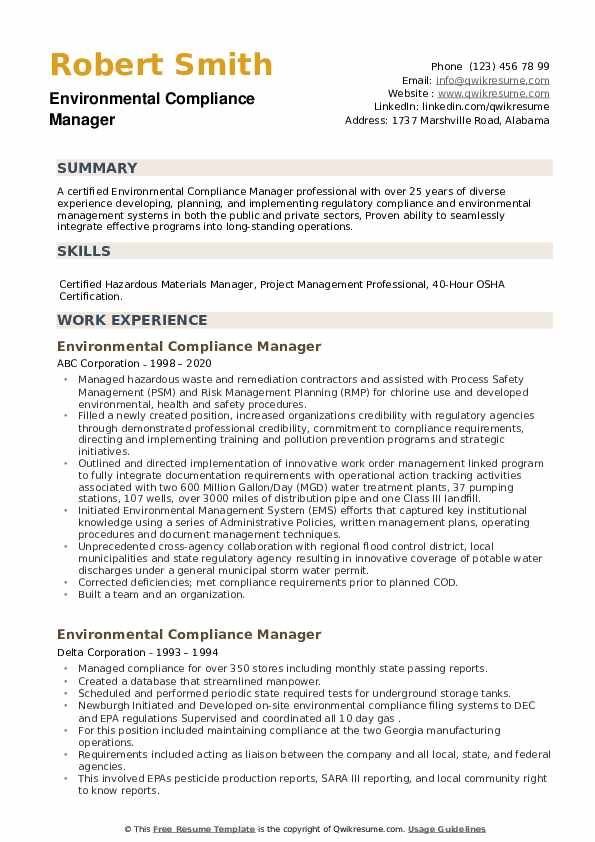 Environmental Compliance Manager Resume example