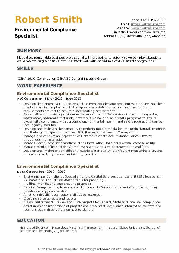 Environmental Compliance Specialist Resume example