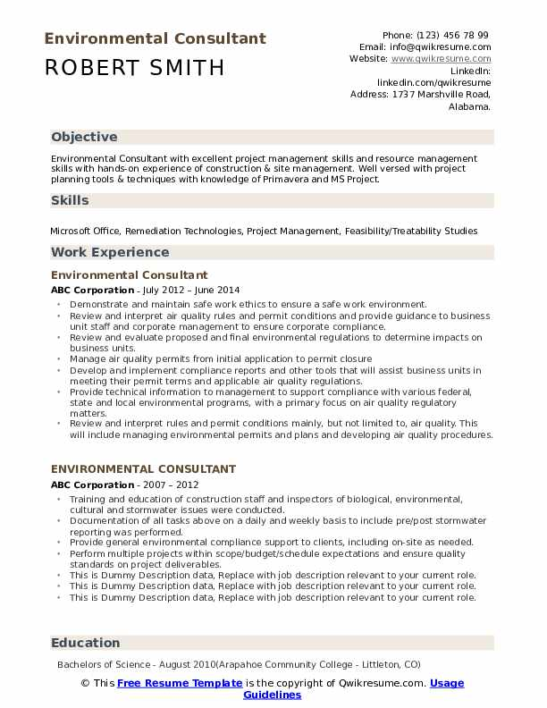 Environmental Consultant Resume example
