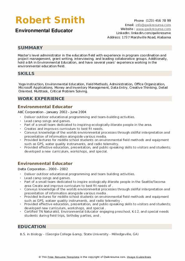 Environmental Educator Resume example