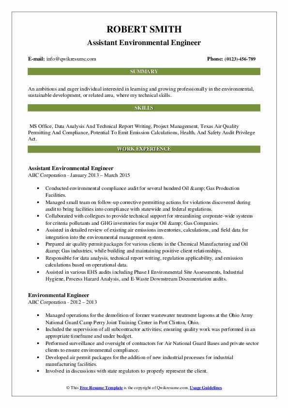Assistant Environmental Engineer Resume Example