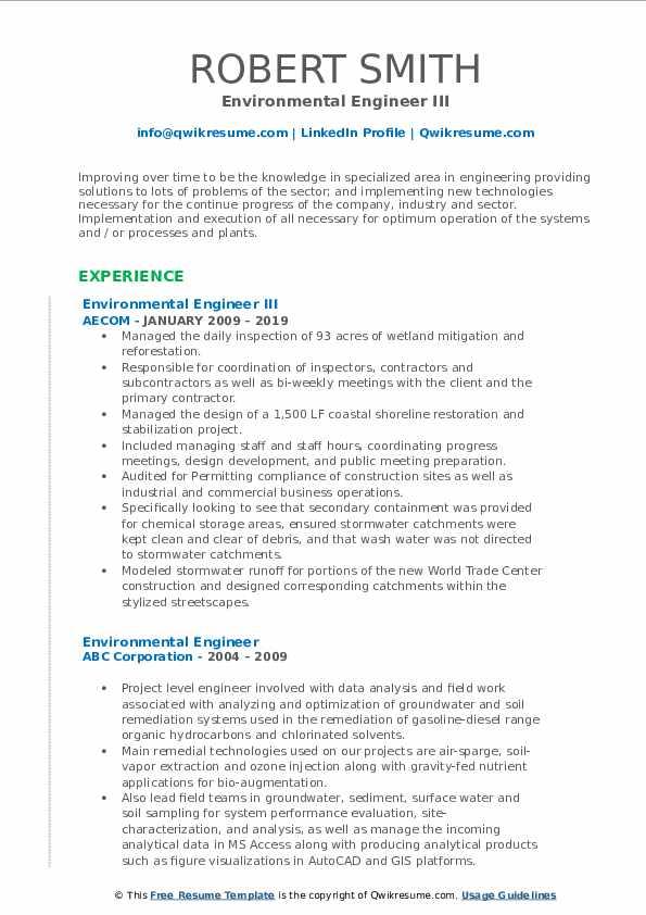 Environmental Engineer III Resume Sample