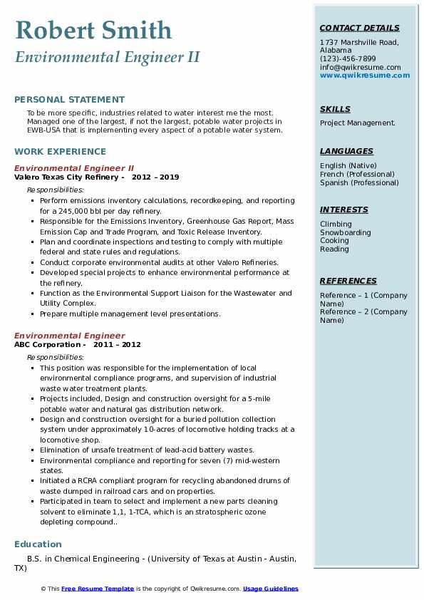 Environmental Engineer II Resume Model