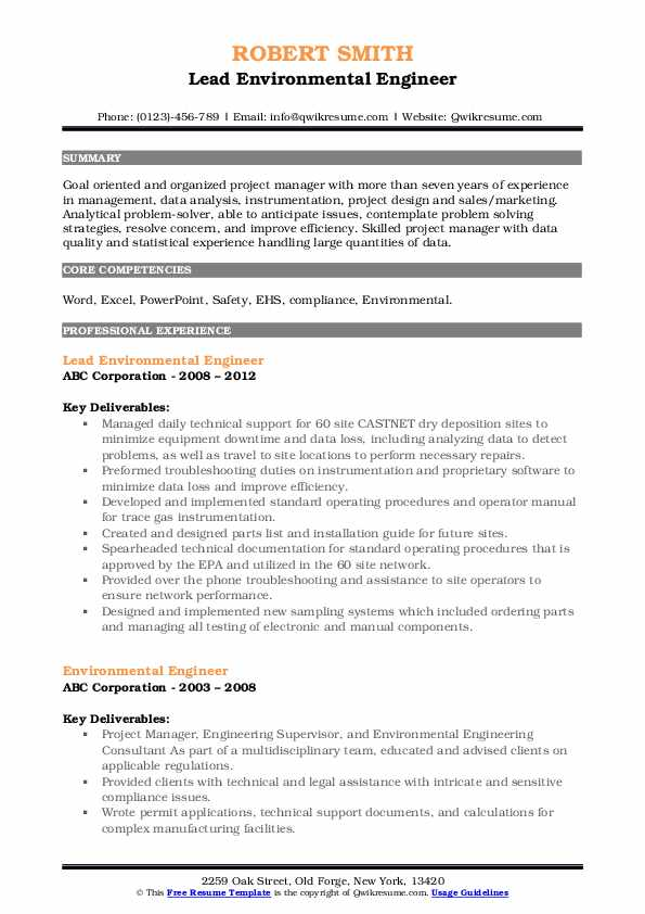 environmental engineer resume samples