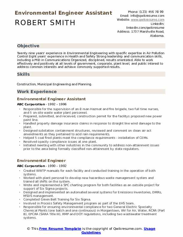 Environmental Engineer Assistant Resume Example