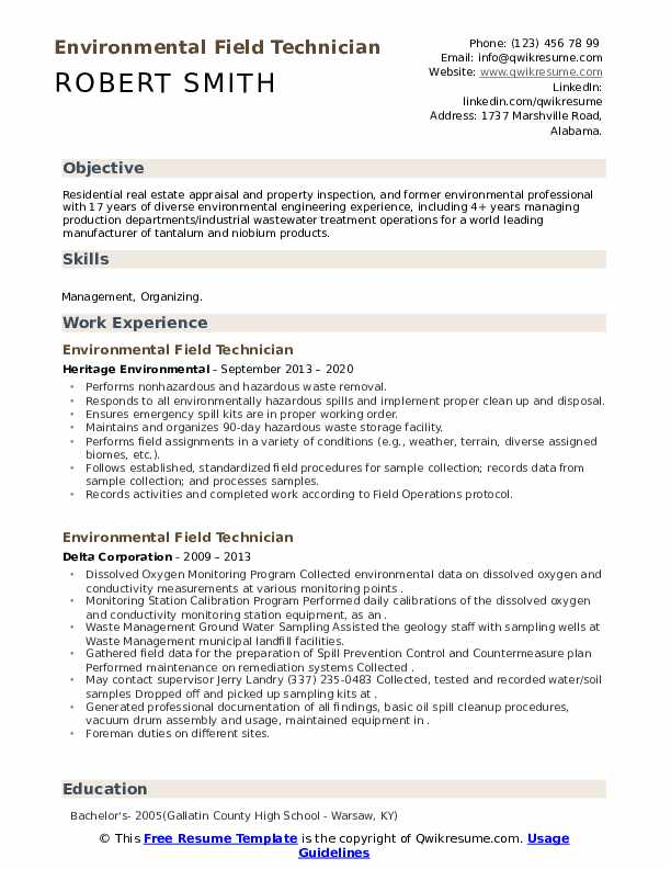 environmental field technician resume samples  qwikresume