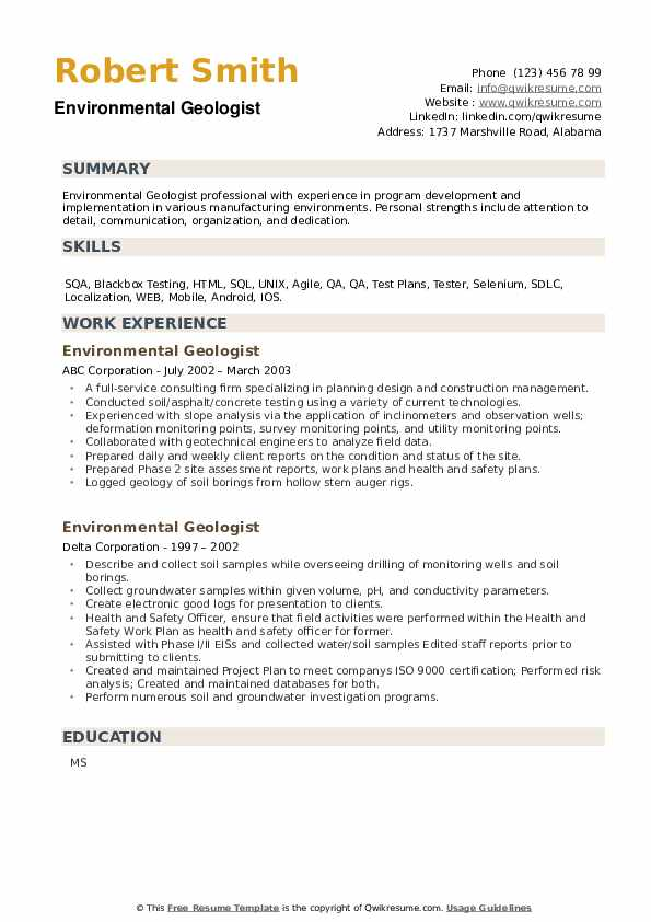 Environmental Geologist Resume example