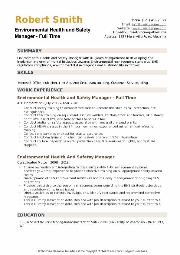 environmental health and safety manager resume samples