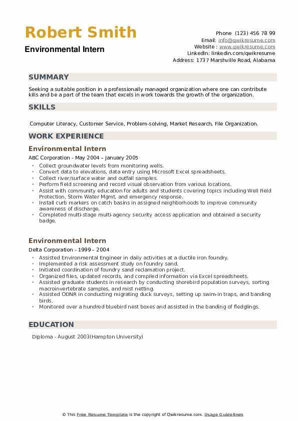 Environmental Intern Resume example
