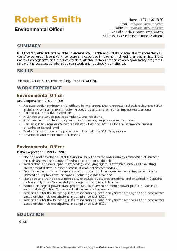 Environmental Officer Resume example