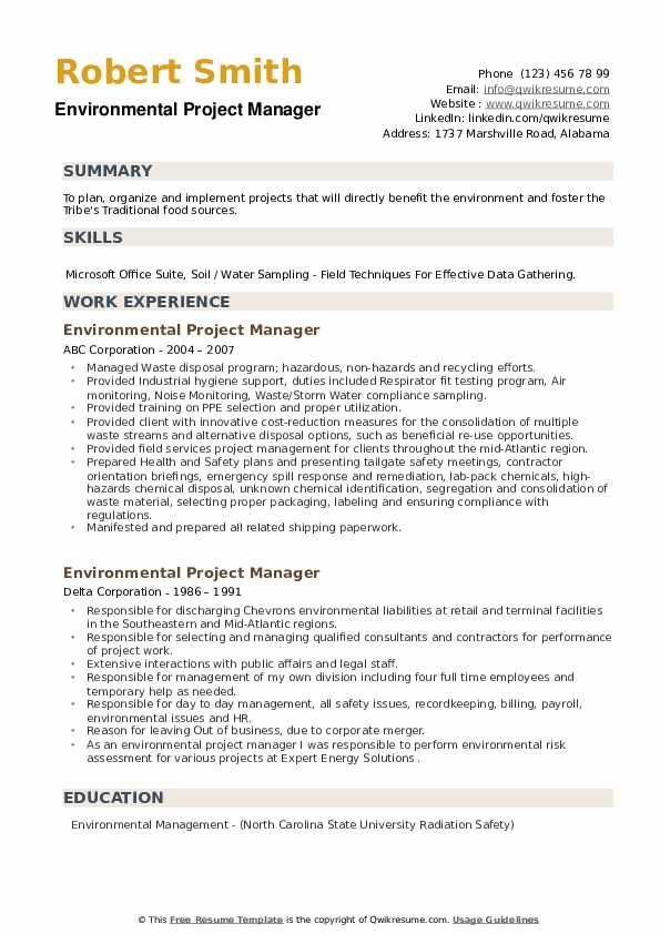Environmental Project Manager Resume example